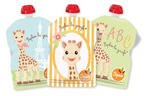 Squiz sophie la girafe knijpzakjes herbruikbaar navulbaar fruitmoes groentehapje maaltijd baby peuter