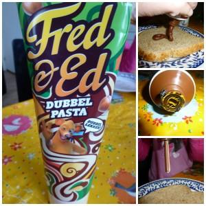Fred & Ed dubbelpasta witte chocoladepasta hazelnootpasta broodbeleg tube