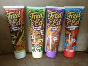 Fred & Ed broodbeleg in tube aardbeienjam dubbelpasta appelstroop pindakaas