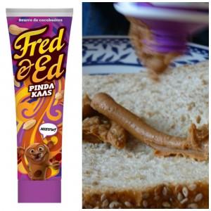 pindakaas uit een tube van Fred & Ed broodbeleg