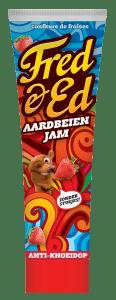 fred & ed aardbeienjam zonder stukjes broodbeleg in tube