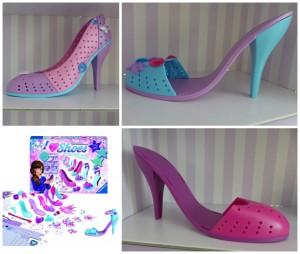 I love shoes Ravensburger schoenen ontwerpen high heels hoge hakken pumps sandalen kraaltjes kralen ponpon tule draad pinnetjes schoenenkast schoenenrak showen