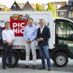 Picnic oprichters vlnr Joris Beckers - Bas Verheijen - Frederik Nieuwenhuys - Michiel Muller Lancering picnic supermarkt online boodschappen gratis thuisbezorgd