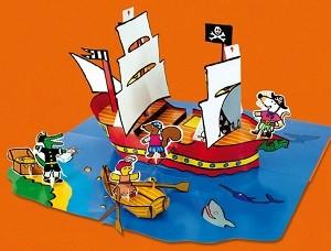 Het piratenschip van Muis piratenschip Muis vrienden Lucy Cousins prentenboek avontuur schatkaart schatkist zwaardgevecht 3D pop-up recensie review Leopold speelplezier speelfiguren envelop