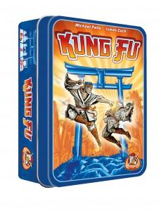Kung Fu Kaartspel White Goblin Games recensie review vanaf acht jaar strategisch slim aanval verdediging open gedekt aanvalskaarten verdedigingskaarten kleuren levensfiches schade sterkste blikje reliëf