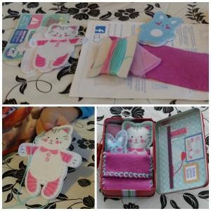 My Studio Girl Katia & Katinka handwerken knutselsetje katje konijntje naaien plastic naald draad compleet setje University Games recensie review dochter 6+ handwerksetje kussen deken koffer stickers