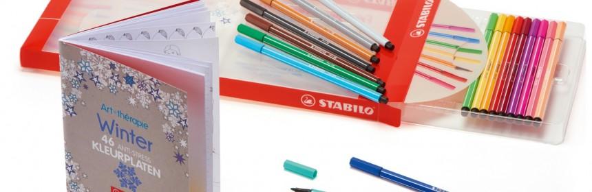 Stabilo Pen 68 giftpack 18 viltstiften stiften kleuren tekenen uitdrogen dop kleurboek winter cadeauverpakking cadeau heldere intense kleuren prettig hand lijnen grote vlakken recensie review