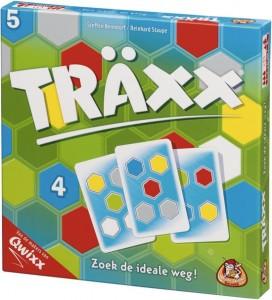 Traxx White Goblin Games kaartspel 1 – 4 spelers 8+ kleuren vakjes puntentelling weg speelkaart stiften recensie review uitdagend verrassend