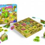 Flying Kiwis The Game Master recensie review bordspel familiespel 5+ vliegende kiwi's platform schans elastiekje stiekje afschieten afvuren fruitkist speelbord kistje speelduur snelheid ervaring verzamel vierkant