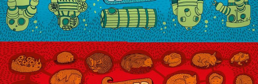 Onder de grond Onder water Aleksandra en Daniel Mizielinscy informatief prenten tekeningen recensie review ontdekkingstocht werelden boek kinderen huishouden onderwaterwereld wormen mierenhoop vodingsmiddelen groeien holbewoners buizen kabels electriciteit aardgas water riool aardkern waterdruk meren oceaan duiken duikboot boorplatformn titanic ontdekkingsreis terra lannoo