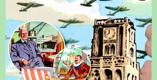 Mijn stad Rotterdam geschiedenis boek verhalen vroege middeleeuwen 20e eeuw Sparta Euromast Passage witte huis weeshuis bombardement rotterdammers vormgeving geschiedenisles Ruud Spruit land geschiedenisboek recensie review karakter uitgevers