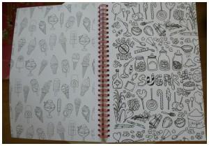 Het enige echte kleurboek voor volwassenen met een ringband BBNC kleuren volwassenen recensie review abstract tekening plat dubbel opengeslagen precisiewerk kleurplaat pols