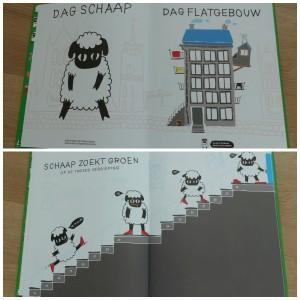 Schaap zoekt groen Eef Rombaut Emma Thyssen prentenboek wei stad flat kleuren dieren blij helpen poster verrassing recensie review terra lannoo