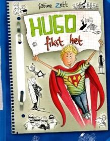 Hugo fikst het Sabine Zett zelf lzen recensie review uitgeverij holland graphic novel bladspiegel tekeningen verliefdheid meiden jongens puber boekenreeks levensvragen coole gast school lerares Engels briefje taalgebruik vlot geschreven schrijfstijl doelgroep