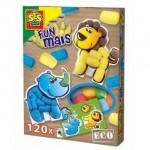 SES Funmais legkaarten safari dieren knutselen sponsje recensie review knutselmateriaal tekening uitkomst verpakking plastic mesje sponsje kleuren leeuw neushoorn 3D effect vensterbank kinderkamer spelen dieren set 3+