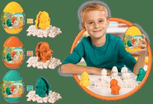Super Sand Egg Goliath Games recensie review ,agisch zand binnen speelzand paasontbijt Pasen paaseieren zoeken konijntje lammetje kuikentje winkel kleuren zandvormpjes groen oranje geel ei heerlijk spelen adviesprijs ouders paasdieren