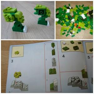 BanBao Parasaurolophus (6856) recensie review dinosaurussen dino dinosaurus collectie handleiding bouwinstructie blokjes kleur bouwstenen groen kop rug stickers kogelgewrichten levendig bewegen achterpoten poten bek Deense merk voordeliger bouwsets merken passen