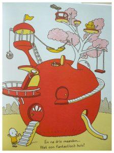 Is het een appel? Shinsuke Yoshitake prentenboek Van Goor appel fantasie op hol slaan vis vermomd planeet lucht omgeving vertellen jongetje school thuis tafel vraagt lijken verbeelding kers ei huis familie dingen bedenken jongens meiden genieten mogelijkheden lezen varianten proppen prentenboek dagelijkse leven recensie review
