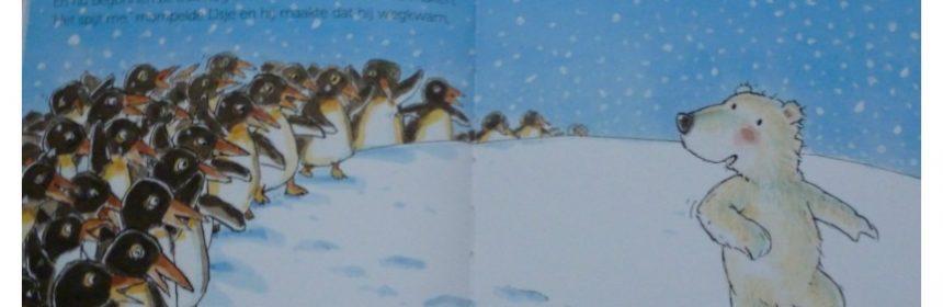 Omdat je mijn vriendje bent Guido van Genechten Omdat ik zoveel van je hou prentenboek ijsbeer vrienden maken vriendschap mama IJsje dapper moed zeemeeuw zeehond pinguïns walrus ijsbeer vertederend verhaal recensie review spelletje zoek prenten liefde moeder probleem ruzie nadenken vlekje