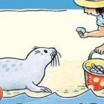 Joupy gaat jutten Monica Maas recensie review De Vier Windstreken zwemmen jutten schatten strand krokodil gevaarlijk strandliefhebbers prentenboekje zee beleven spetteren schelpjes zoeken strand water kinderen woord verhaal spaart herkenning vinden plezier beleven doen spannend kokmeeuw kop