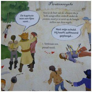 De schat van Hinkende Hugo Pavla Kleinová De Vier Windstreken recensie review Linke Luuk schatkaart handen gekregen gelukkig non-fictieboek kleding dragen wapens bemanning piratenregels opgepast stoere jongens meiden piratenleven zoek vorm boek stoer doodshoofd piraten titel originele 3D boek iedereen droomt piraat belangrijk precies kledingstukken gescheurd wapen meenemen avonturen spannend piratenavontuur piraat schat vinden waarschuwing leuk grappige informatie vormgeving spoor kinderen zes jaar kartonnen pagina's vermoeden jongere tekeningen leven gevaarlijke situaties steken netjes gehouden weten ouders afbeeldingen mensen zwaarden lijf rode vlekken lijf