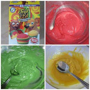 Fred en Ed kleurenpret cakejes Home Made bakmixen Albert Heijn recensie kinderfeestje cake cupcake kinderen bestrooien swirl laagje stippen vormpjes cakemix kleuren rood groen geel beslag goedgekeurd heerlijk smaken aanrader recensie review