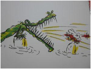 De krokodillenrivier Gustavo Roldán prentenboek BBNC recensie review aankoopbewijs tekeningen contract water rivier vertrekken favoriete stek familie gelukkig tevreden papier geld vriendelijk beleefd werk maatregelen beschermen bureaucratie waarde geld vertrouwd huis tanden