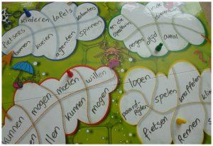 Denkdobbelen Filosofiejuf.nl verhalen gedichten verzinnen fantaseren spelletjes toneelstukjes vragen gedachtenwolken schrijven whiteboard stift uitvegen wolkjes zin willen moeten kunnen mogen zelfstandige naamwoorden meervoud tijd- plaatsbepaling werkwoorden dobbelsteen pion recensie review