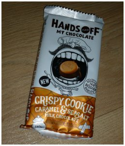 Hands Off My Chocolate Crispy Cookie Caramel & Sesalt recensie review chocolade testen proeven
