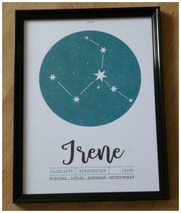 Printcandy.nl webshop persoonlijke prints en posters geboorteposter sterrenbeeldposter cadeau kado bestelling levering recensie review