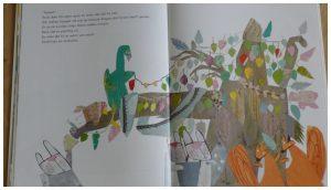 De kale boom Tamara Bos prentenboek De Vier Windstreken ziekte pruik boom blaadjes samenwerken vriendschap kunstwerkjes levendig zielig recensie review