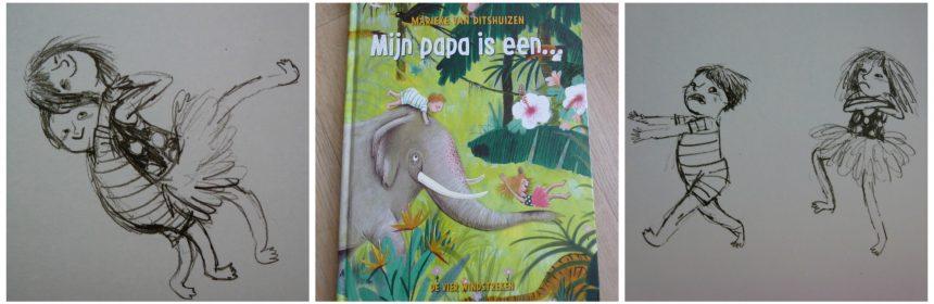Mijn papa is een… Marieke van Ditshuizen Baby- en peuterboeken prentenboek voorleesboek De Vier Windstreken fantasie rijm prenten avonturen tip Vaderdag zoekprent recensie review