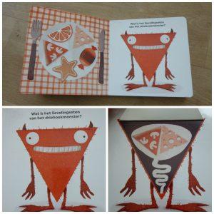 Mmmonsters! Tobioas Krejtschi De Vier Windstreken kartonboekje baby- en peuterboekje vormen herkennen eten buik honger etenswaren herkennen flapjes recensie review