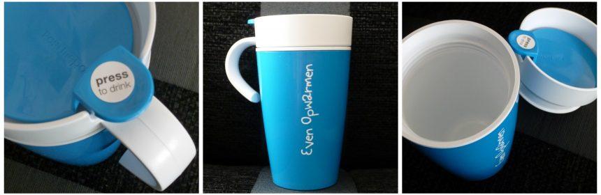 MyMepal Thermomok Thermobeker recensie review winactie winnen gepersonaliseerd persoonlijke tekst foto achtergrond kleur 45 minuten warm thee koffie onderweg file rijden verrassen
