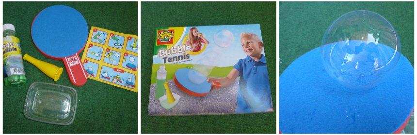 SES Bubble Tennis SES Creative Buiten spelen bellen blazen Mega Bubbles wegwaaien stuiteren racket batje afspoelen zeepbellen recensie review