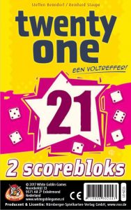 Twenty One (21) White Goblin Games dobbelspel scorebladen speelduur kwartier 8+ 2-6 spelers Qwixx Qwinto gezin recensie review