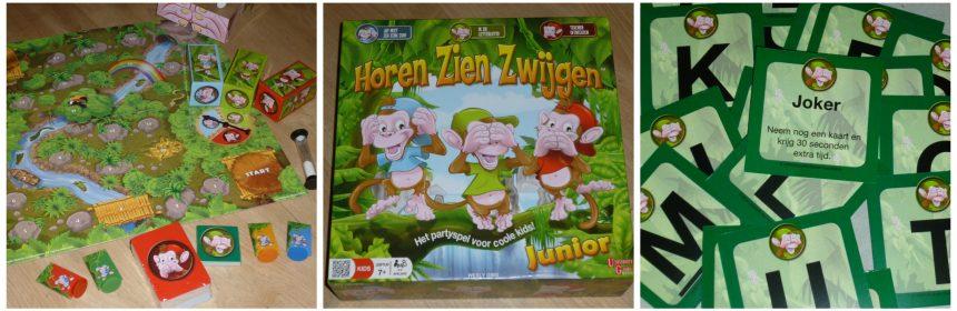 Horen Zien Zwijgen Junior University Games Bordspel 7+ opdrachten waarschuwing moeilijk beginnende lezer versie spelen spelregels recensie review