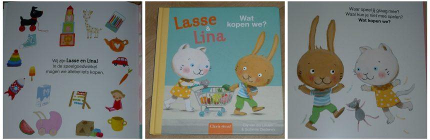 Lasse en Lina Wat kopen we Clavis prentenboek uitklappagina's recensie review