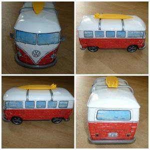 Ravensburger Puzzel Volkswagenbus 3D Puzzel Volkswagen Bus T1 kunststof puzzelstukjes nummer in elkaar zetten tussenstuk dak rijden wielenpronkstuk eye-catcher recensie review
