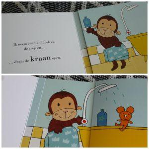 Aapje in bad Leen van Durme Clavis kartonboekje flapjesboek prentenboek peuters buiten spelen in bad gaan recensie review