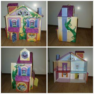 Mijn gigantische poppenhuis DIY BBNC Uitgeverij Flamingo karton papier vouwen spelen poppetjes meubels inrichting schaar lijm plakband flapjes recensie review