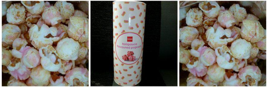 HEMA Popcorn Tompouce Smaak #echthema Tompouce Flavoured Popcorn snack koker glazuur zoet geen kunstmatige toevoegingen recensie review