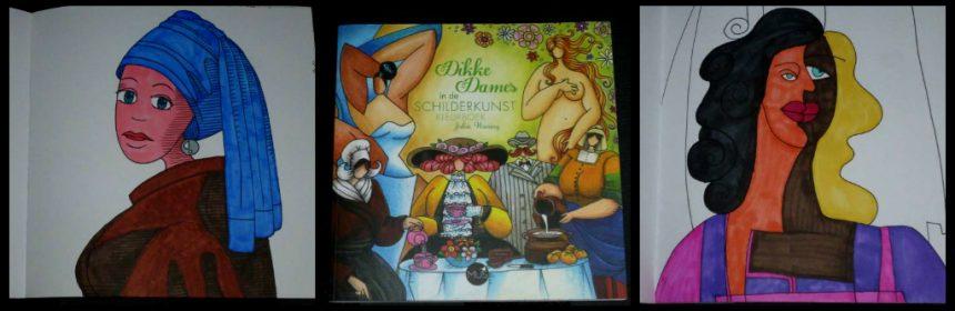Dikke dames in de schilderkunst Kleurboek Julia Woning Hobby kleuren volwassenen BBNC kleurplaten meesterwerken kunstwerken Monet Mucha van Gogh Renoir Botticelli Vermeer Degas Mondriaan Appel Picasso Munch Gaugain recensie review