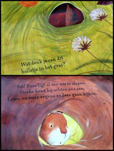 Een huis voor Haas… En Muis Rosalinda Kightley Kartonboek doorkijkpagina doorkijkjes bladzijden De Vier Windstreken huis thuis slapen beer grot gezelschap verrassing peuterproof recensie review