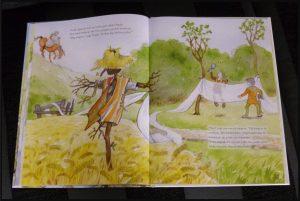 Op zoek naar het begin Joke Eikenaar prentenboek De Vier Windstreken meertje badhanddoek vergeten stof ridder zoektocht mensen gebruiken tekeningen samen eigenaar sprookjesachtig details recensie review
