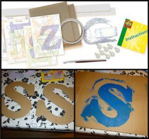 SES Lichtletter maken 6+ hobby SES Creative knutselen freubelen verven in elkaar zetten DIY resultaat batterijen kinderen recensie review
