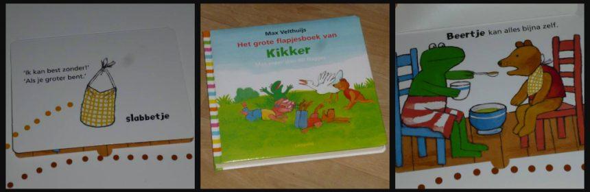 Het grote flapjesboek van Kikker Max Velthuijs flapjes tekeningen leerzaam leren kleuren kleding spoorzoeken vormen grapjes tegenstellingen dieren geluiden tellen wereld formaat ontdekkingen Leopold recensie review