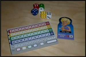Qwixx Karakters Aanvulling op basisspel White Goblin Games 8+ uitdaging impuls basisspel toevoeging personages eigenschappen dobbelspel variatie Tina Turner Magic Mike Double Dutch Chris Cross Miss Take scoreblad recensie review