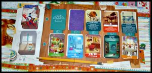 Droomhuis Bordspel White Goblin Games kamerkaarten verbouwingskaarten bouw je eigen droomhuis 7+ kinderen volwassenen kinderkamer bibliotheek sauna speelbord punten rondes voorraadkast badkamer keuken woonkamer slaapkamer recensie review