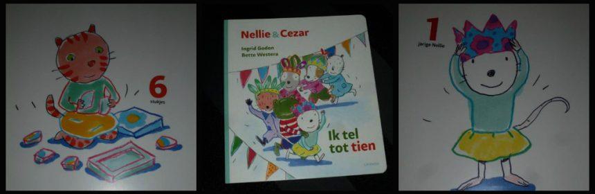 Nellie en Cezar Ik tel tot tien Ingrid Godon Bette Westera baby- en peuterboeken Lannoo kartonboek ballonnen vlaggetjes cadeautjes kadootjes pakjes feestje verjaardsgfeestje jarig taart cijfers getallen herkennen tellen recensie review